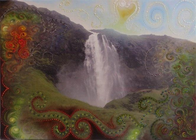 Gullfoss í Gilsfyrði. 75x50 cm 80000.- minni' copy