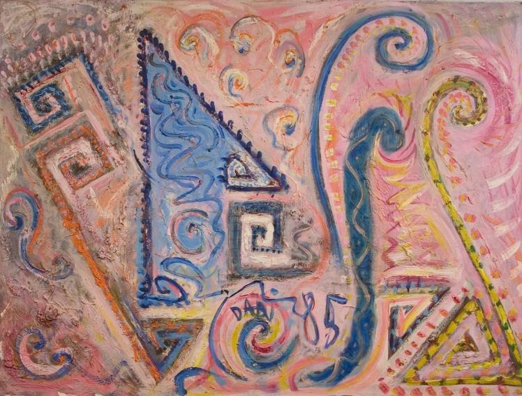 95 Bleikt boðkerfi Olía á striga 1985 116x87 cm Pink system Oil on canvas 1985 116x87 cm