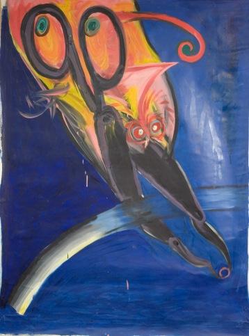 Stefnumót við bleikan fugl Rendesvous with pink bird. Oil on cotton. 1982 76x132 cm