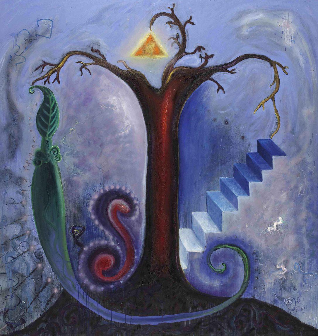 1 Lífsins tré. -Tree of life. 1993 Olía á striga 200 x 210 cm (upprúlluð með blinramma)(upprúlluð með blinramma)