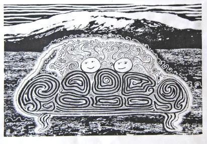 Landslagsmálverk fyrir ofan sófan var eitthvað sem tilheyrði þegar ég var ungur. The landscape painting above the sofa was something that belonged to each other when I was young.
