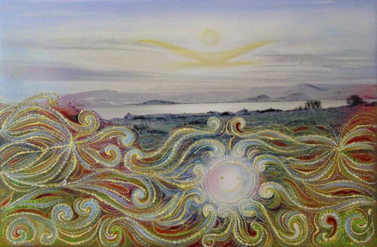 Vil gjarnan blanda saman miðlum, en að vera að búa til myndlist í viðbót við raunveruleikan er þá kannski skrítnasta blandan af ölluI would like to mix media, but to create art, as addition to reality is perhaps the weirdest mix of all there is. Sólfar og brosandi land. Sun and smiling land. 210.000 kr.