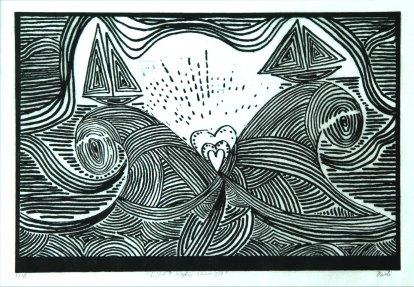 Ljóðið siglir sinn sjó. Grafíkmynd 16x18 cm 2019 The poem sails on the sea. Print. 16x18cm 2019