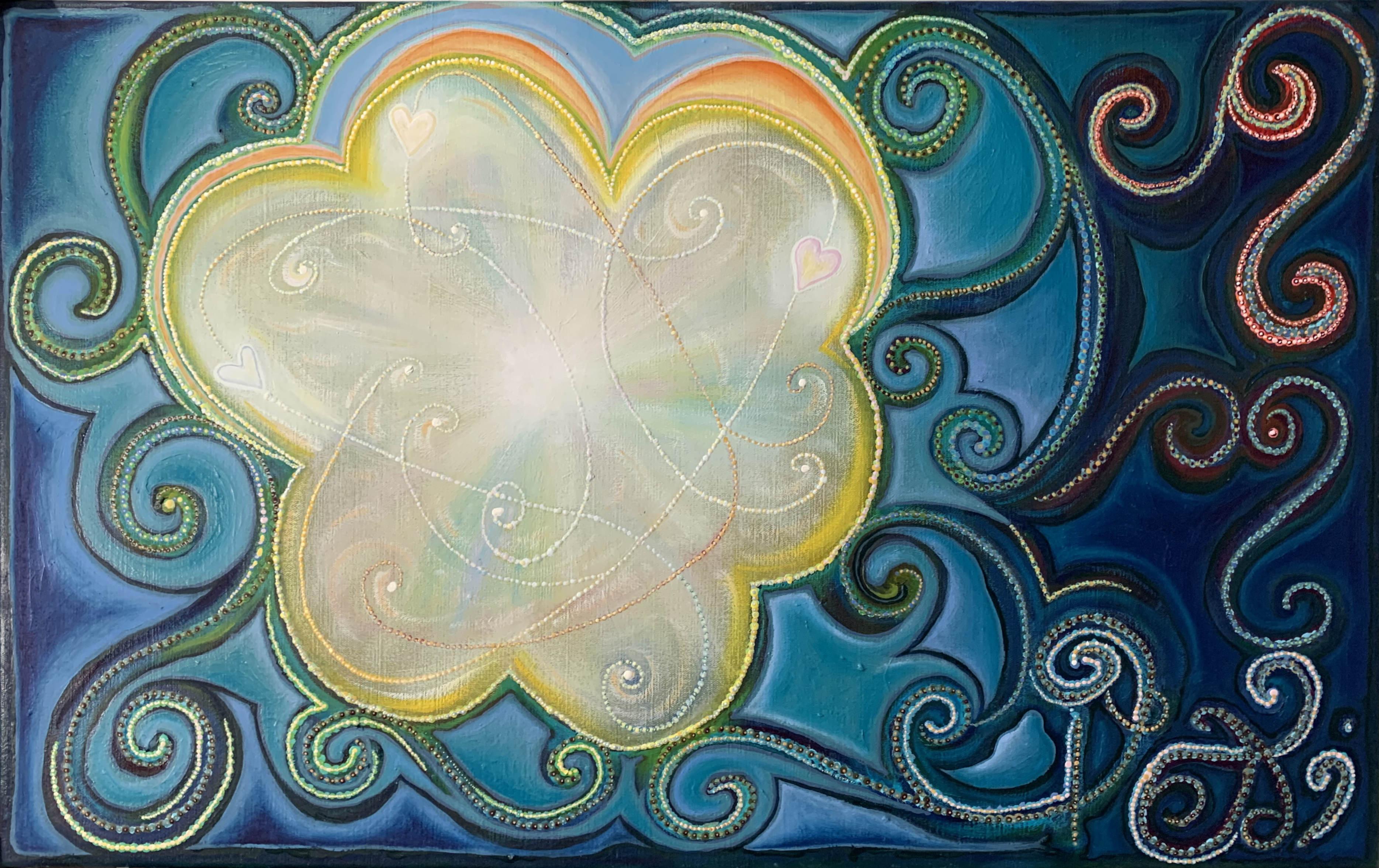 Eindir hjartans. 95x60 cm. Olía á striga. 2020...........................The particles of the heart. 95x60 cm. Oil on canvas. 2020.
